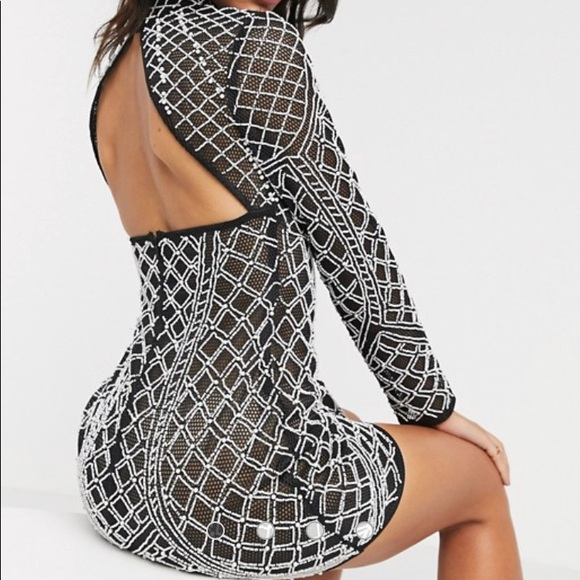 💋ASOS sheer mesh and pearl all over embellished